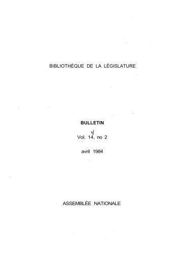 Vol. 14, no 2 avril - Bibliothèque - Assemblée nationale du Québec