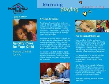 Home Child Care Parent Brochure - Social Services - Region of ...