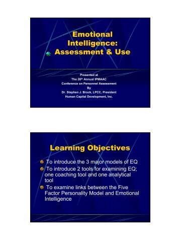 Emotional Intelligence: Assessment & Use - IPAC