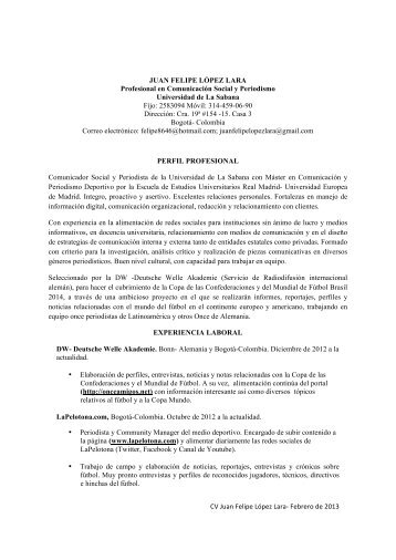 CV Juan Felipe López Lara - Computerworld Colombia