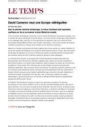 David Cameron veut une Europe ÄdÅrÅgulÅeÇ - le cercle du barreau