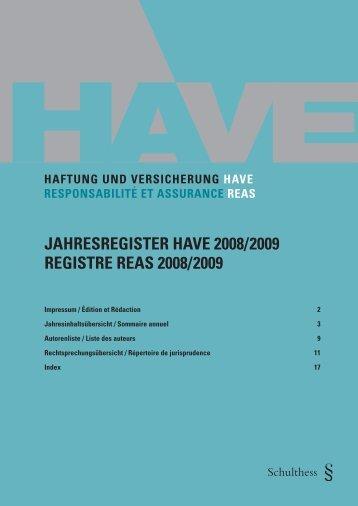2009 - HAVE Haftung und Versicherung