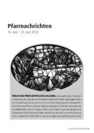 Pfarrnachrichten für die Zeit vom 15. - 23. Juni 2013 - St. Petronilla
