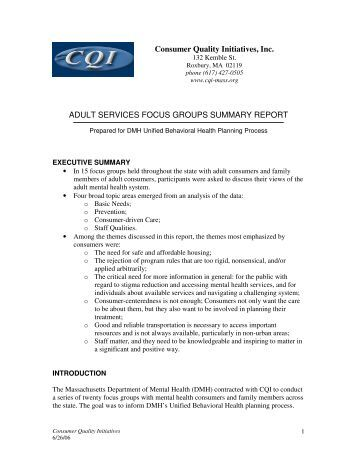 Adult Services Focus Groups Summary Report - Consumer Quality ...