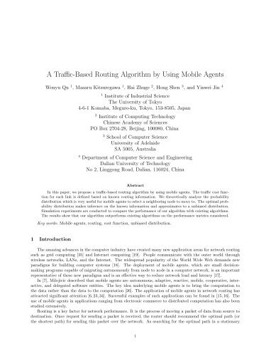 A Traffic-Based Routing Algorithm by Using Mobile Agents
