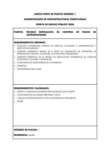 ANEXO PERFIL DE PUESTO NÚMERO 1 ADMINISTRADOR ... - Adif