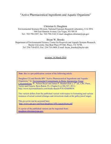 Active Pharmaceutical Ingredients and Aquatic Organisms