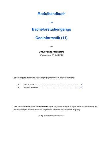 Bachelorstudiengangs Geoinformatik - Universität Augsburg