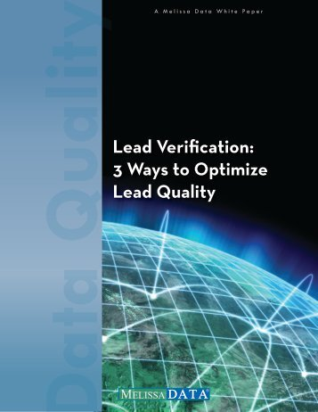 Lead Verification: 3 Ways to Optimize Lead Quality - Melissa Data