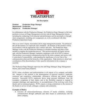 Job Profile: Light In Winter Production Manager Role Description