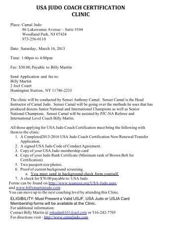 USA JUDO COACH CERTIFICATION CLINIC - Billy Martin