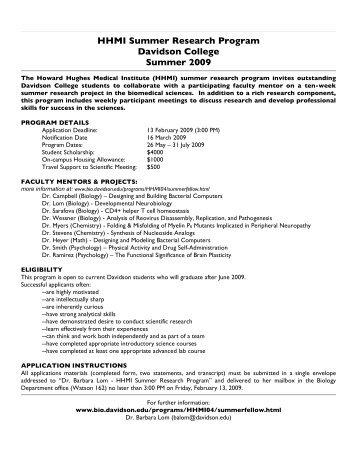 HHMI Summer Research Program Davidson College Summer 2009