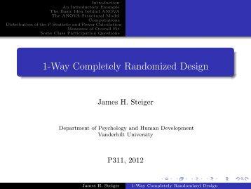 1-Way Completely Randomized Design - Statpower