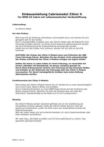 Einbauanleitung BMW Z4 Dachautomatik - Reinhold Engineering