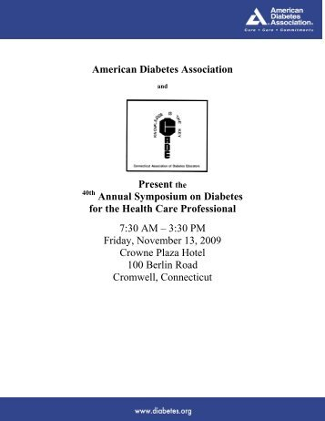 Present the Annual Symposium on Diabetes for the - American ...