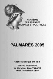 PALMARÈS 2005 - Académie des sciences morales et politiques