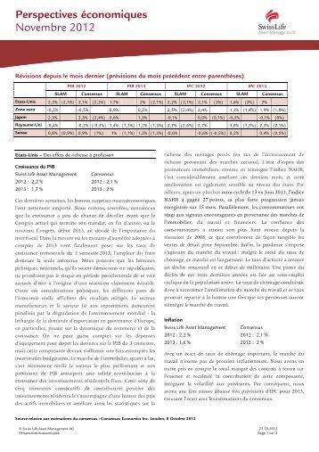 Perspectives économiques 11/12 - Swiss Life