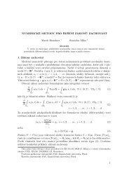 Numerické metody pro řešení zákonů zachování. - Centrum ...