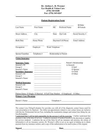 Patient Registration Form  Chen Ha Md
