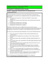 Applying Characteristics of Interpersonal Communication