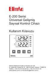 E-200 Kullanım Kılavuzu - Elimko