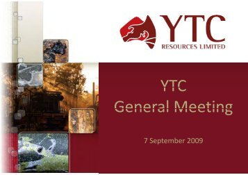General Meeting Presentation - YTC Resources Home Page