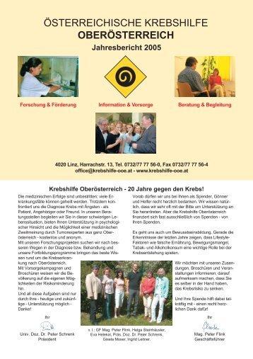 Jahresbericht 2005 - Krebshilfe Oberösterreich