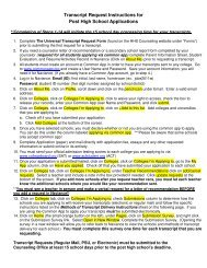 Transcript Request Instructions for Post High School Applications