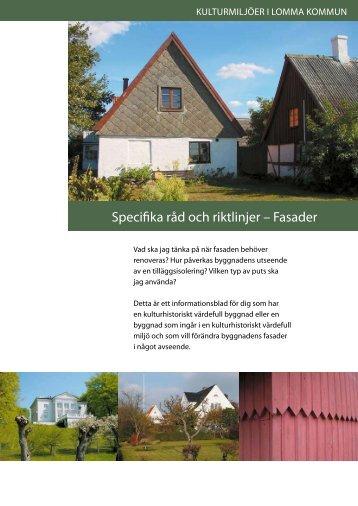 Specifika råd och riktlinjer – Fasader - Lomma kommun 71cddc600bce5