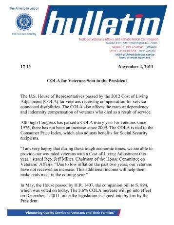 17-11 November 4, 2011 COLA for Veterans Sent to the President ...