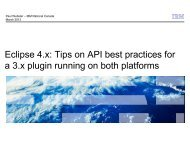 Tips on API best practices for a 3.x plugin running on ... - EclipseCon