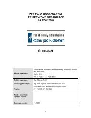 zpráva o hospodaření příspěvkové organizace za rok 2008 ič