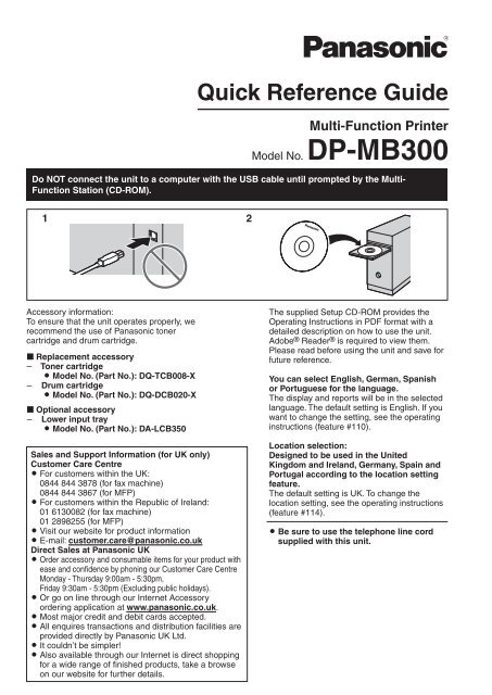 Quick Reference Guide - Panasonic