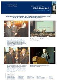 Bilderspiegel zur Jubiläumsfeier zum 100 ... - Klinik Hohe Mark