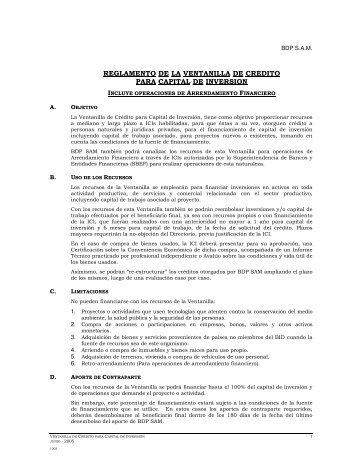 REGLAMENTO DE LA VENTANILLA DE CREDITO PARA ... - BDP