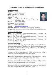 Curriculum Vitae of Adel Khaleel Mahmoud Al-Azzawi