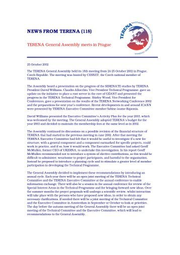 TERENA General Assembly meets in Prague