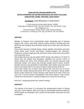 Analisis Kelurusan untuk Perkiraan Sistem Hidrogeologi Karst ...