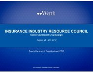 Insurance Industry Resource Council: Career Awareness Campaign