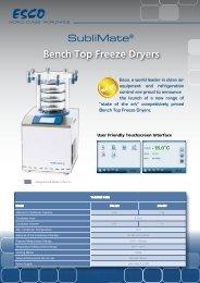 Bench Top Freeze Dryers - Esco