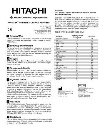 OPTIGEN® POSITIVE CONTROL REAGENT Intended Use ...