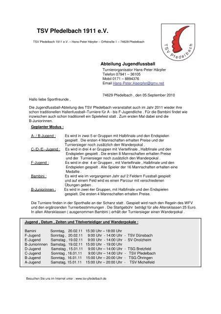Einladung Hallenturniere - TSV Pfedelbach