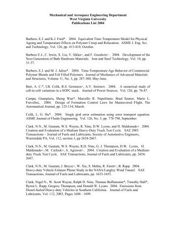 Faculty Publications 2004 - WVU Mechanical and Aerospace ...