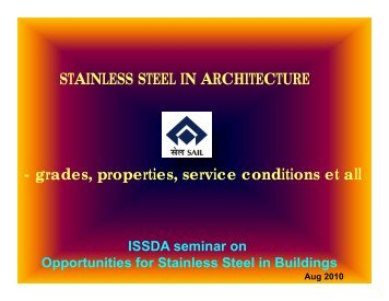 STAINLESS STEEL IN ARCHITECTURE d ti i diti t ll - grades ...