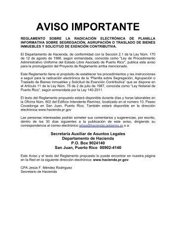 AVISO IMPORTANTE - Departamento de Hacienda