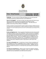 Hiring Processes Original Date - City of Pittsburgh