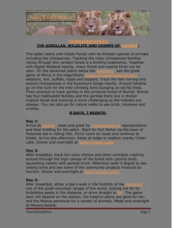 Itinerary - Tours2EastAfrica