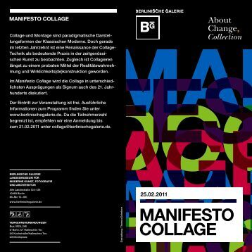 manifesto CoLLaGe - About Change, Collection Stiftung