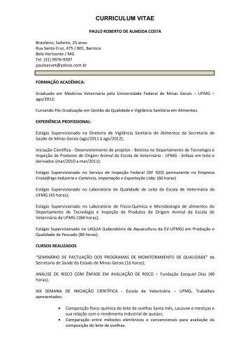 Currículo - Paulo Costa - CRMV-MG