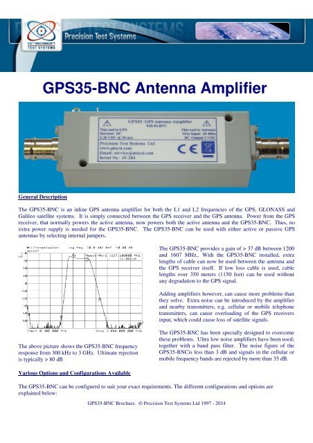 GPS35-BNC Antenna Amplifier - Precision Test Systems Limited